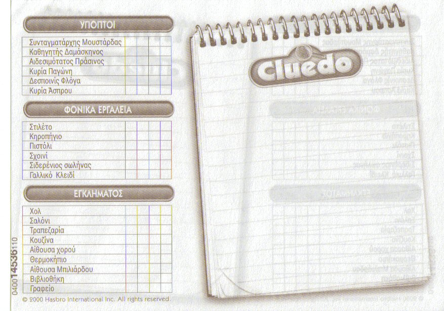 photograph about Clue Replacement Sheets Printable titled Cluedo Detective Notes - Description Of The Take note